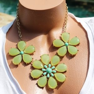 New Boho Necklace Turquoise Green Flower Statement